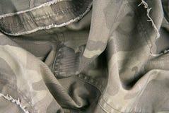 Camouflage cloth texture crumpled Stock Photos