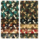 Camouflage clothing seamless patterns set. Collection military camo various color combination. Vector illustration vector illustration