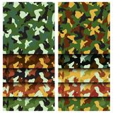 Camouflage clothing seamless patterns set. Collection military camo various color combination. Vector illustration royalty free illustration