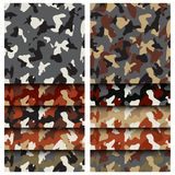 Camouflage clothing seamless patterns set. Collection military camo various color combination. Vector illustration stock illustration