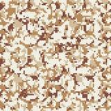 Camouflage de pixel Modèle numérique sans couture de camo Texture militaire Couleur de désert de Brown illustration stock