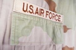 Camouflage desert uniform. Closeup of US Air Force camouflage desert uniform stock photo