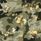 Camouflage en bloemenpatroon OP BLOEM vector illustratie