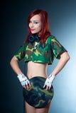 Camouflage female dj Stock Photos