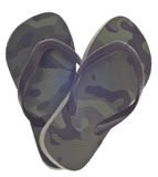 Camouflage Flip Flop Sandals in Heart Shape. Masculine Camouflage Flip Flop Sandals in Heart Shape Isolated on White with a Clipping Path royalty free stock photos