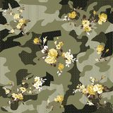 Camouflage and flowers pattern ON FLOWER. Yellow flower and leaves seamless vintage flower pattern on camouflage vector illustration