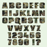 Camouflage font and numbers. Font for advertising, graphic, prin Royalty Free Stock Photography