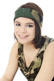 Camouflage Girl Portrait Royalty Free Stock Photo