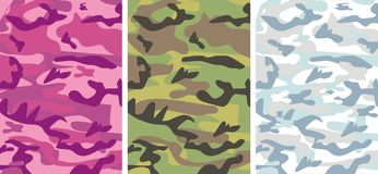 Camouflage: Glamour Pink, Winter Snow, Classical F. Vector background - 3 samples of  protective coloring - Camouflage: Glamour pink camouflage for fashionable Royalty Free Stock Photo