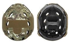 Camouflage, green, khaki military helmet Stock Images