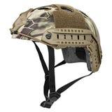 Camouflage, green, khaki military helmet Stock Photo