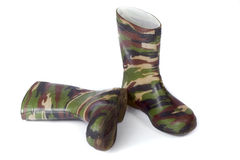 Camouflage gum boots Royalty Free Stock Images