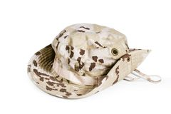 Camouflage hat for soldiers. Camouflage hat in a cut out view royalty free stock photography