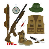 Camouflage hat, gun with shells. Hunter set in flat style. Royalty Free Stock Images