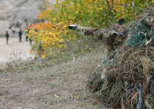 Camouflage Hunter or soldier hiding in bushes in camouflage. Camouflage Hunter or soldier aiming hiding in bushes in camouflage autumn  background. Sniper with Stock Image