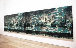 Andy Warhol--From A To B And Back Again at Whitney Museum. Camouflage Last Supper of 1986 by Andy Warhol, is an experiment of overlaying a camouflage pattern stock image