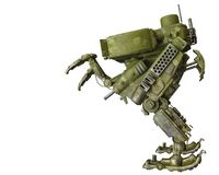 Camouflage mech in a white background. Will put some fun in yours creations, 3d illustration royalty free illustration