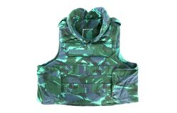Camouflage, military body armor. Isolated on white stock images