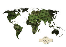 Camouflage military world map with stars. Vector Royalty Free Stock Images