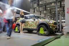 Camouflage mini countryman car Royalty Free Stock Photo
