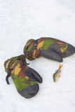 Camouflage mittens and perch on snow. Stock Images