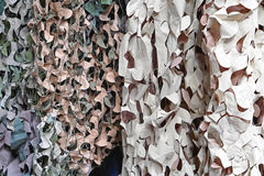 Camouflage nets. Camouflage net for hidding in nature Royalty Free Stock Photo