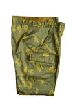 Camouflage pants close up. Object on white - clothes Camouflage pants Royalty Free Stock Image