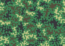 Camouflage pattern background. Classic clothing style masking camo repeat print. Green brown black olive colors forest texture. Ve royalty free illustration