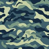 Camouflage pattern background seamless vector illustration. Classic clothing style masking repeat print. Dark Blue. Camouflage pattern background seamless vector Stock Image