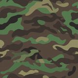 Camouflage pattern background seamless vector illustration. Classic clothing style masking repeat print. Dark Blue Royalty Free Stock Images