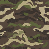 Camouflage pattern background seamless vector illustration. Classic clothing style masking repeat print. Stock Images