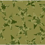 Camouflage pattern of stars, flowers and peas. Vector illustration. stock illustration