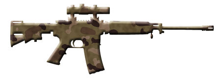 Camouflage Rifle. A rifle in the camouflage colors isolated over white, Camouflage Rifle Stock Photos