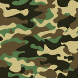 Camouflage seamless pattern background. Classic clothing style masking camo repeat print. Green brown black olive colors. Forest texture. Design element. Vector Royalty Free Stock Photography