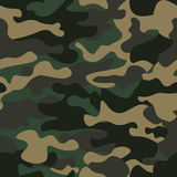 Camouflage seamless pattern background. Classic clothing style masking camo repeat print. Green brown black olive colors Stock Photo
