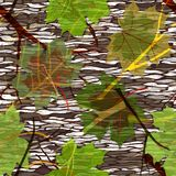 Camouflage seamless pattern with maple leaves Royalty Free Stock Photo
