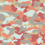 Camouflage seamless pattern in orange, grey, red and dirty yellow colors. Royalty Free Stock Image