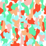 Camouflage seamless pattern in a pink, orange, blue and white colors. Royalty Free Stock Photo
