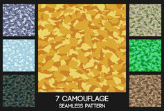 Camouflage seamless pattern set Stock Photos