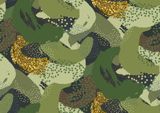 Camouflage seamless pattern. Camouflage seamless pattern in a shades of green, gold glitter, brown, beige colors Stock Images