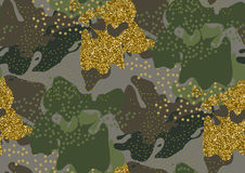 Camouflage seamless pattern. Camouflage seamless pattern in a shades of green, gold glitter, brown, beige colors Stock Photo