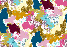 Camouflage seamless pattern in a shades of pink, yellow, gold glitter, blue, red colors Stock Images