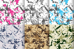 Camouflage seamless patterns set, big collection. With blue or turquois, pink, grey and green colors. Vector camo illustration for cloth fabric print Royalty Free Stock Photos