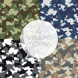 Camouflage seamless patterns set. Green, brown, olive colors forest texture, navy, winter military colors Royalty Free Stock Photography