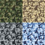 Camouflage seamless texture pattern set. Green, blue, sand, gray camouflages. vector illustration