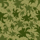 Camouflage seamless texture in polka dots and with silhouettes of flowers. Vector illustration. royalty free illustration