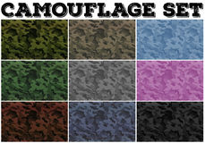 Camouflage set with military theme Royalty Free Stock Images