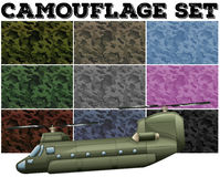 Camouflage set with military theme  Stock Images