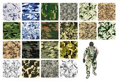 Camouflage set, vector fabric pattern.Can be used for background design stock illustration