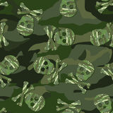 Camouflage skull in a seamless pattern stock illustration